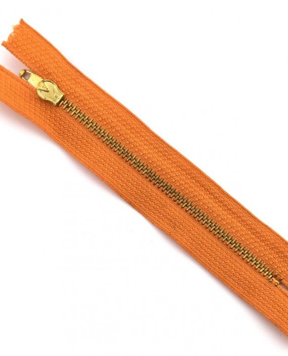 Молния 12 см металл, неразъемная 0021 цвет оранжевый картинка 2