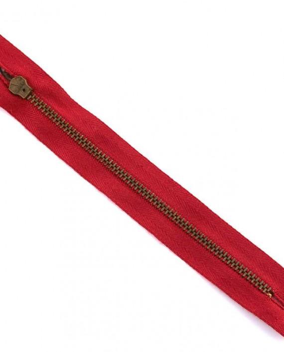 Молния 15 см металл, неразъемная 0037 цвет красный картинка 2