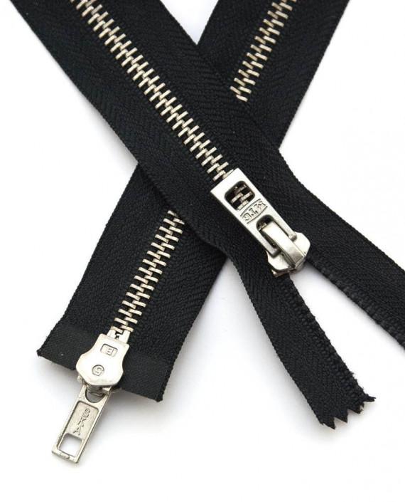 Молния 47 см металл, двухзамковая, декоративная 0354 цвет черный картинка