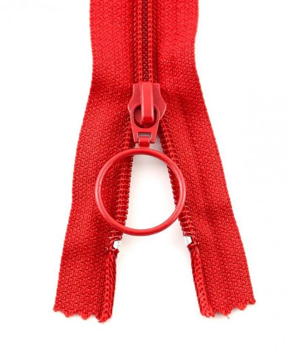 Молния 80 см пластик, неразъемная, декоративная 0936 цвет красный картинка 2