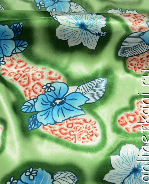 Ткань Атлас Принт 154 цвет зеленый цветочный картинка