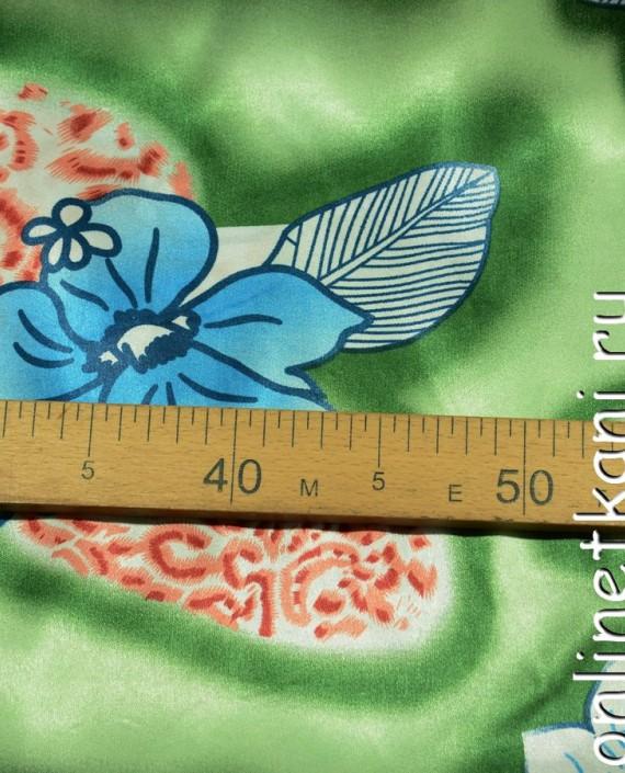 Ткань Атлас Принт 154 цвет зеленый цветочный картинка 1