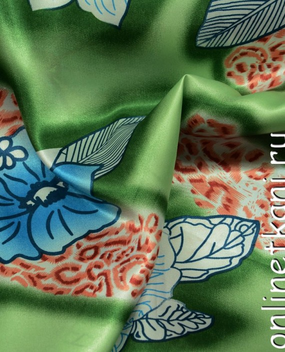 Ткань Атлас Принт 154 цвет зеленый цветочный картинка 2