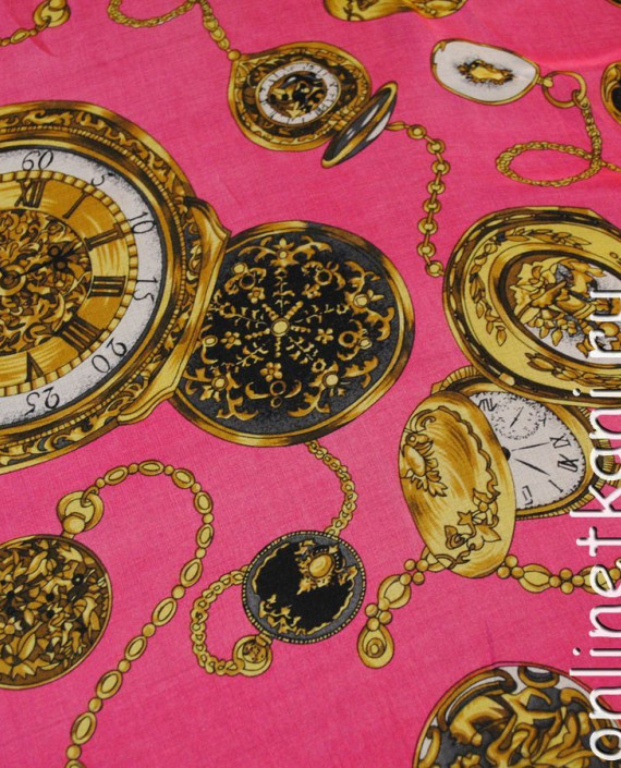 "Ткань Шелк Шифон ""Часы на розовом"" картинка"