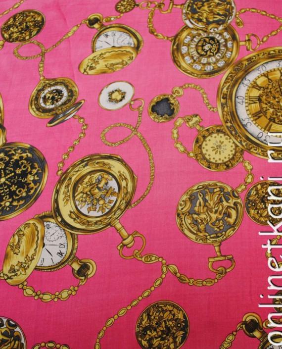 "Ткань Шелк Шифон ""Часы на розовом"" картинка 4"