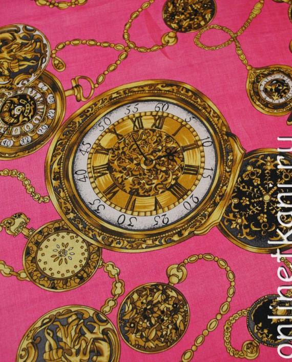 "Ткань Шелк Шифон ""Часы на розовом"" картинка 5"