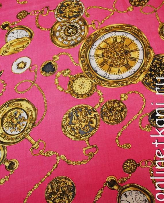 "Ткань Шелк Шифон ""Часы на розовом"" картинка 3"