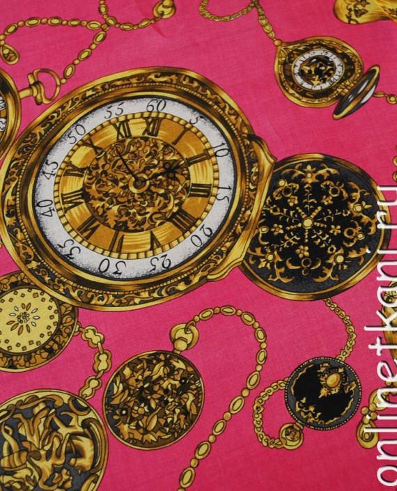 "Ткань Шелк Шифон ""Часы на розовом"" картинка 2"