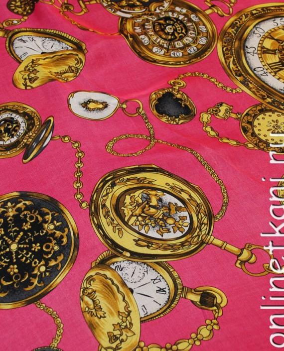 "Ткань Шелк Шифон ""Часы на розовом"" картинка 1"