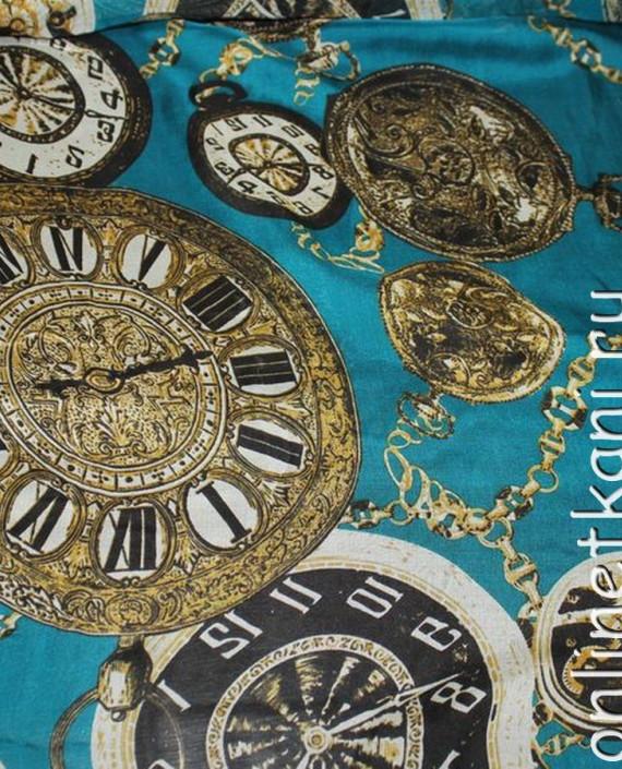 """Ткань Шелк Шифон """"Часы на голубом"""" 0062 цвет бирюзовый абстрактный картинка"""