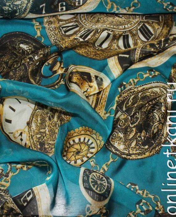 """Ткань Шелк Шифон """"Часы на голубом"""" 0062 цвет бирюзовый абстрактный картинка 2"""