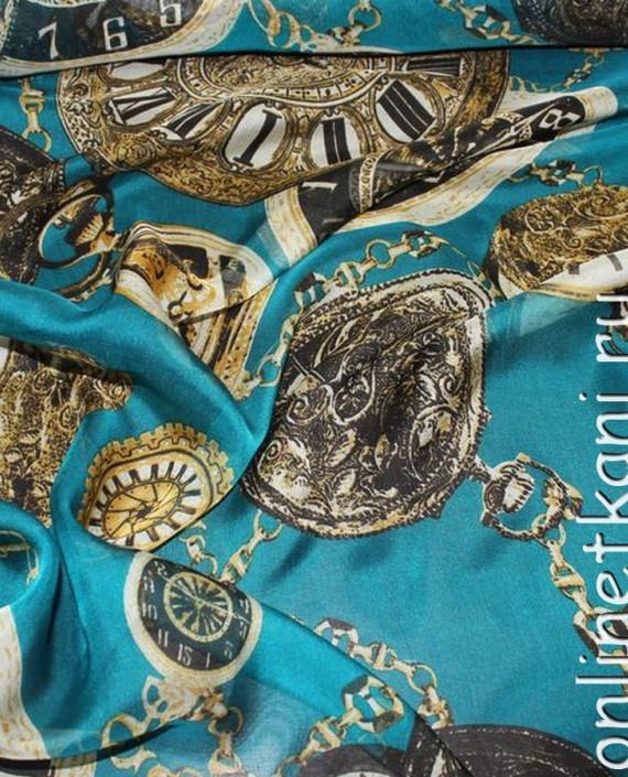 """Ткань Шелк Шифон """"Часы на голубом"""" 0062 цвет бирюзовый абстрактный картинка 1"""