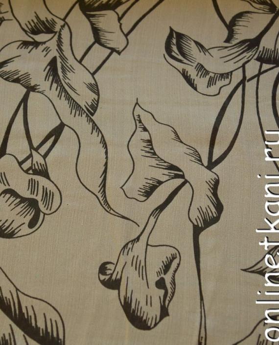 Ткань Шелк Крепдешин 0136 цвет бежевый абстрактный картинка