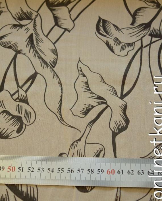 Ткань Шелк Крепдешин 0136 цвет бежевый абстрактный картинка 1