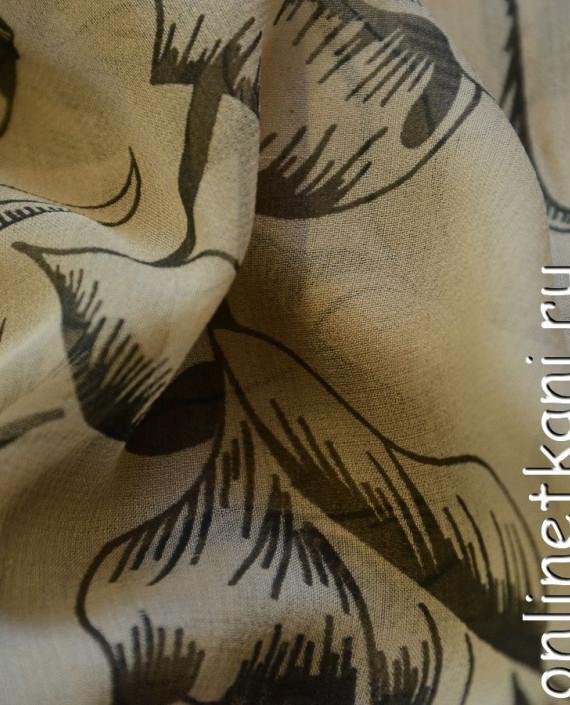Ткань Шелк Крепдешин 0136 цвет бежевый абстрактный картинка 2