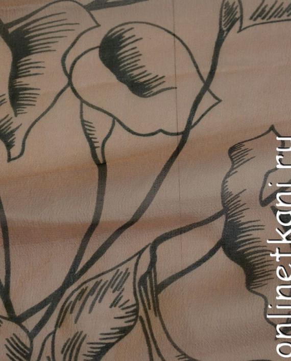 Ткань Шелк Крепдешин 0143 цвет бежевый абстрактный картинка 2