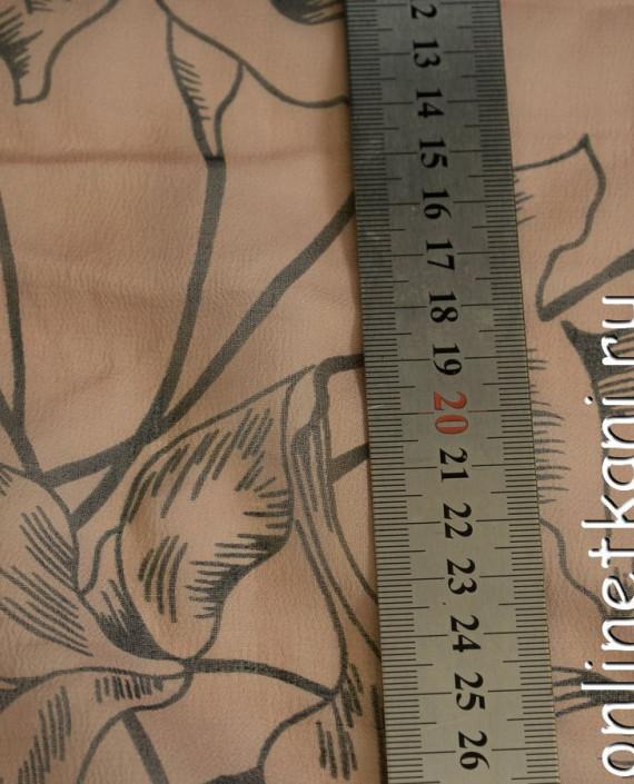 Ткань Шелк Крепдешин 0143 цвет бежевый абстрактный картинка 1