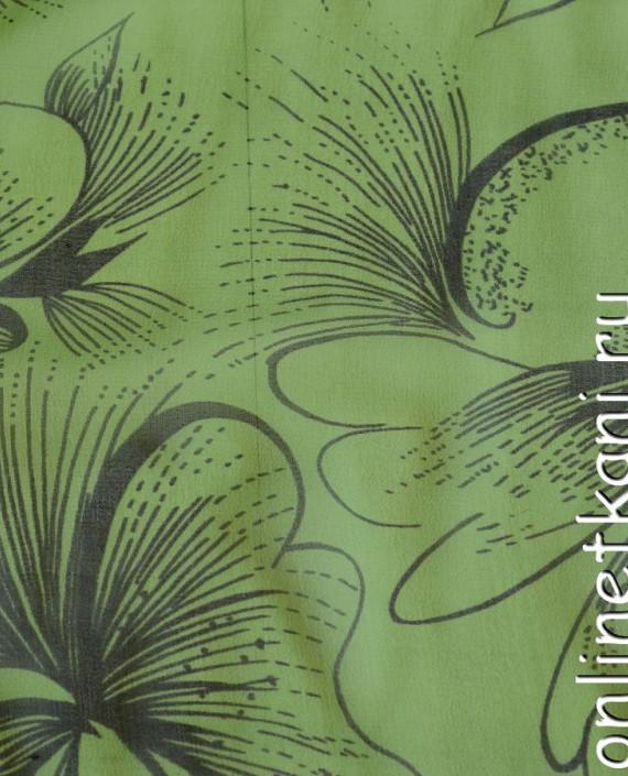 Ткань Шелк Крепдешин 0145 цвет зеленый абстрактный картинка 1