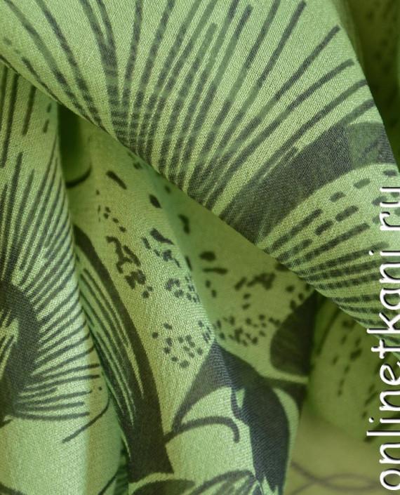 Ткань Шелк Крепдешин 0145 цвет зеленый абстрактный картинка