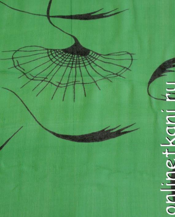Ткань Шелк Крепдешин 0147 цвет зеленый абстрактный картинка 2