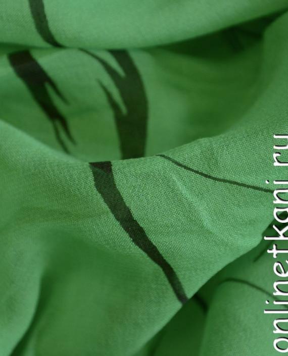 Ткань Шелк Крепдешин 0147 цвет зеленый абстрактный картинка