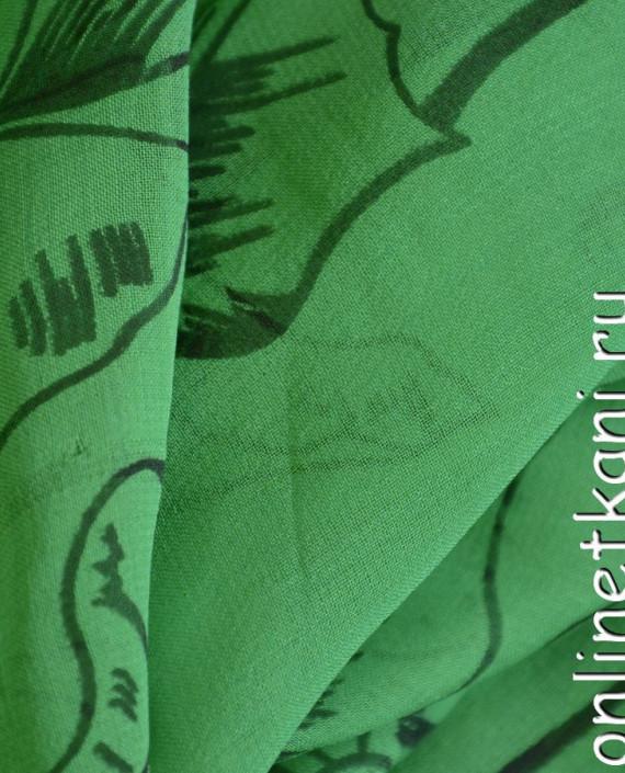 Ткань Шелк Крепдешин 0148 цвет зеленый абстрактный картинка