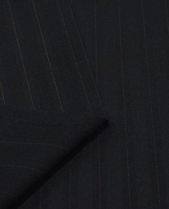 Шерсть костюмная 2505 цвет черный полоска картинка 1