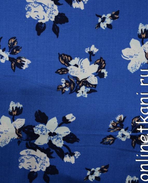 Ткань Штапель 066 цвет синий цветочный картинка