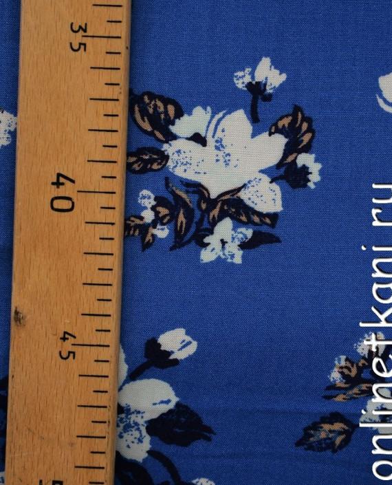 Ткань Штапель 066 цвет синий цветочный картинка 1