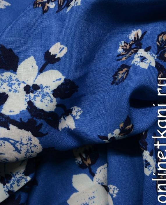 Ткань Штапель 066 цвет синий цветочный картинка 2