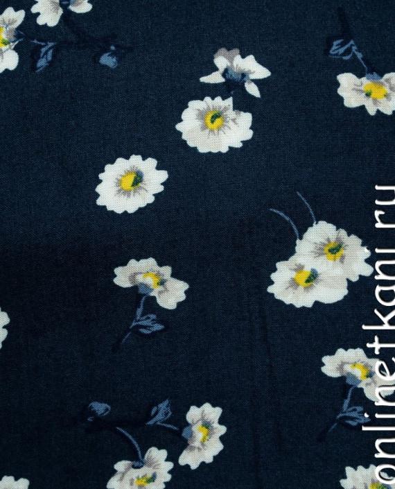 Ткань Штапель 067 цвет синий цветочный картинка