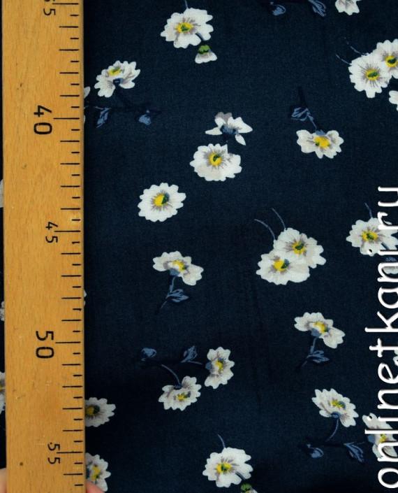 Ткань Штапель 067 цвет синий цветочный картинка 1