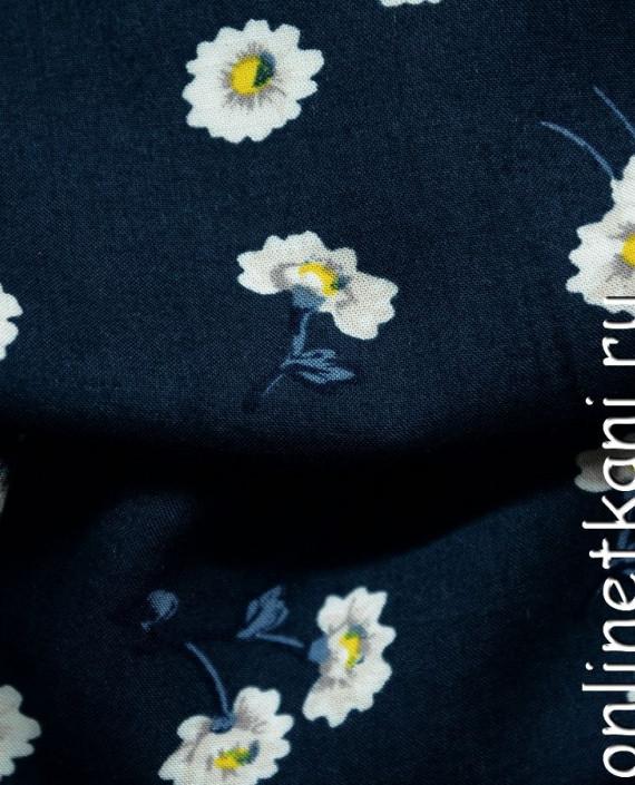 Ткань Штапель 067 цвет синий цветочный картинка 2
