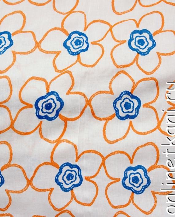 Ткань Штапель 068 цвет белый цветочный картинка