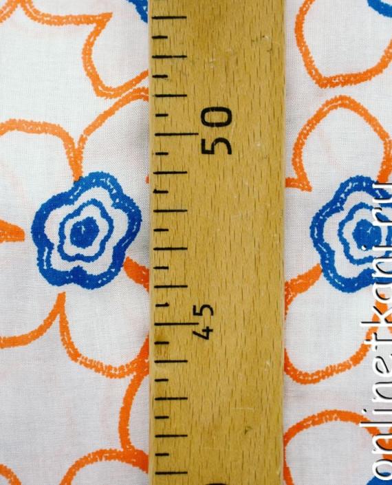 Ткань Штапель 068 цвет белый цветочный картинка 1