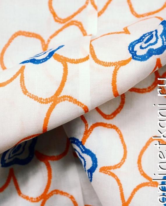 Ткань Штапель 068 цвет белый цветочный картинка 2