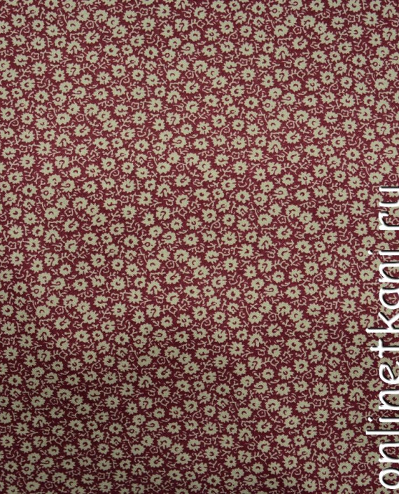 Ткань Штапель 080 цвет бордовый цветочный картинка