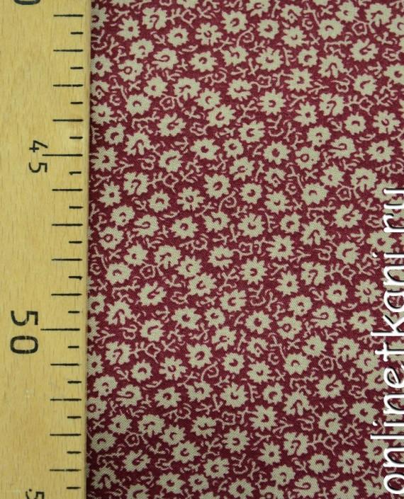 Ткань Штапель 080 цвет бордовый цветочный картинка 1