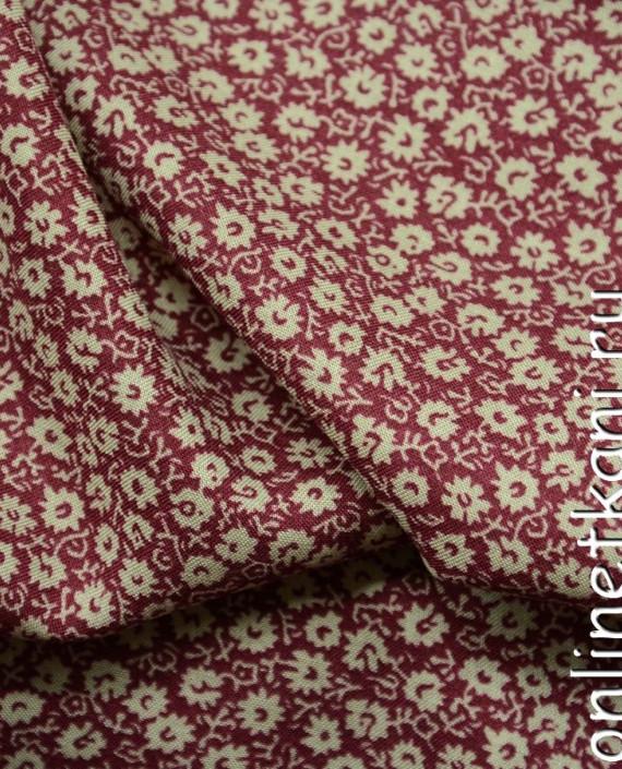 Ткань Штапель 080 цвет бордовый цветочный картинка 2