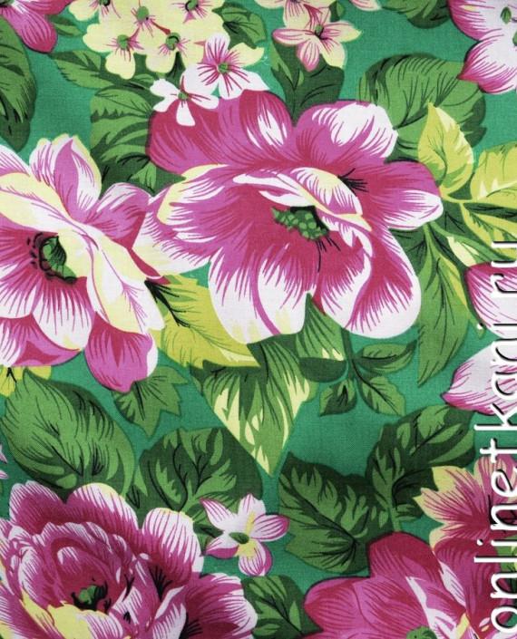 Ткань Штапель 087 цвет зеленый цветочный картинка
