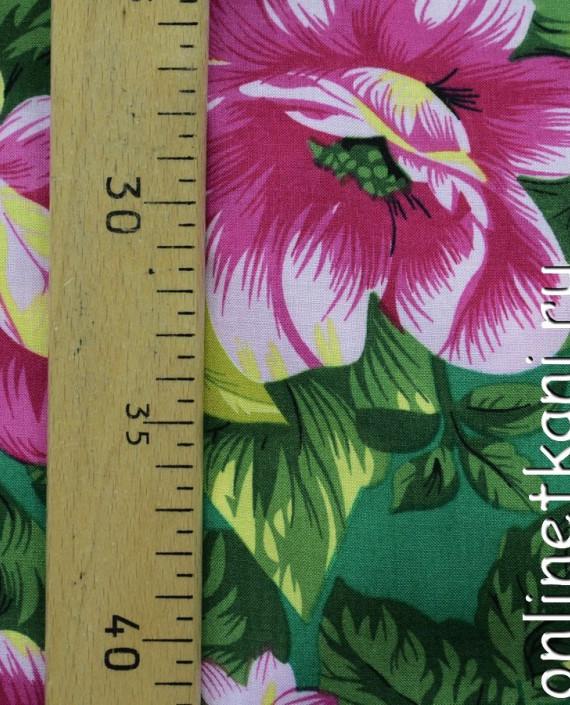 Ткань Штапель 087 цвет зеленый цветочный картинка 2