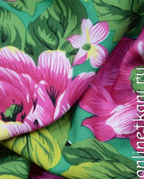 Ткань Штапель 087 цвет зеленый цветочный картинка 1