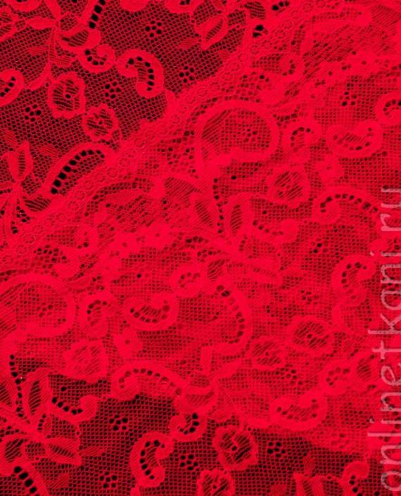 Тесьма Гипюровая 014 цвет красный цветочный картинка 2
