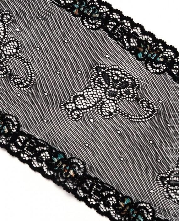 Тесьма Гипюровая 023 цвет черный цветочный картинка