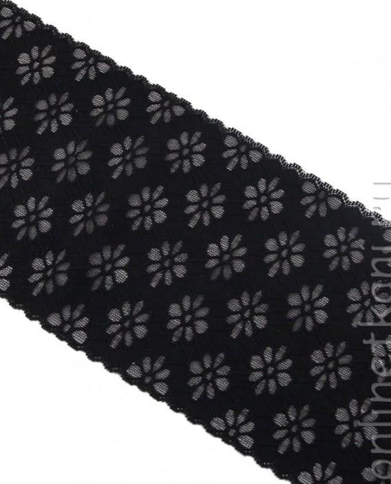 Тесьма Гипюровая 056 цвет черный цветочный картинка