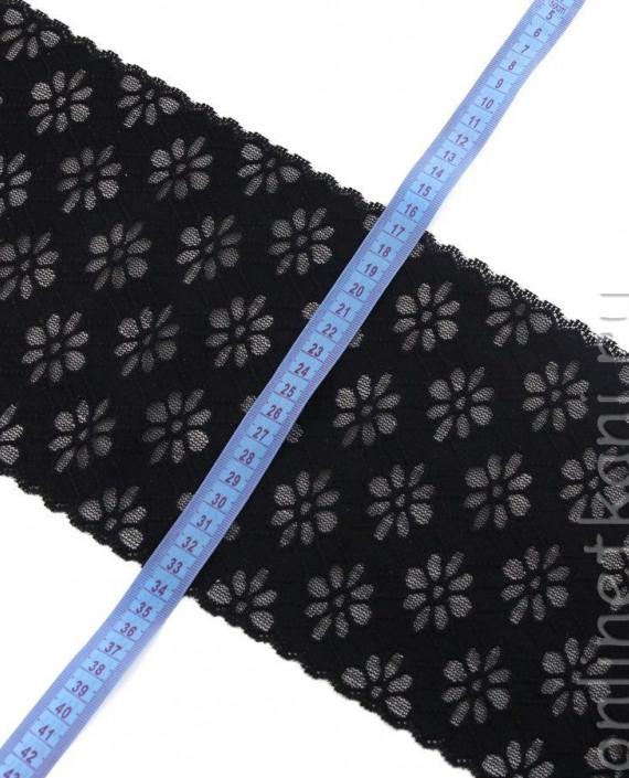 Тесьма Гипюровая 056 цвет черный цветочный картинка 1