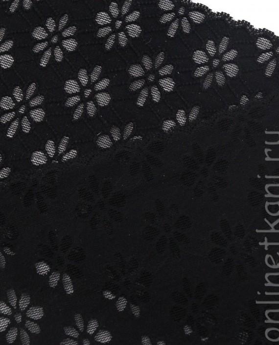 Тесьма Гипюровая 056 цвет черный цветочный картинка 2