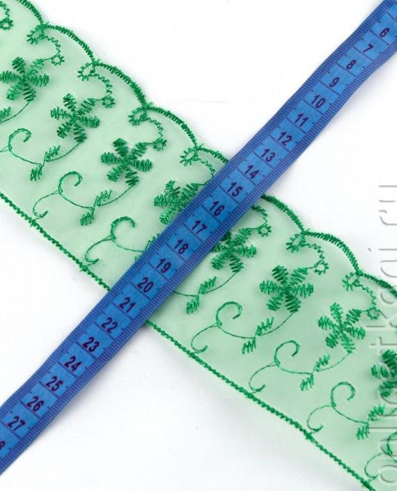 Тесьма 158 цвет зеленый цветочный картинка 2