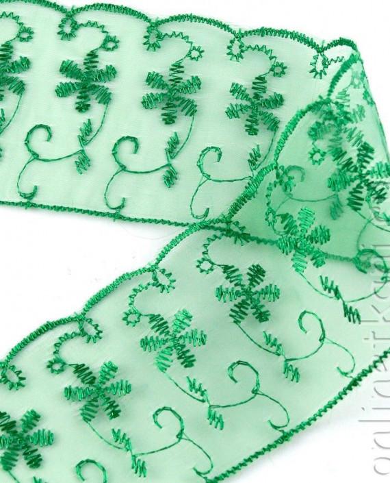 Тесьма 158 цвет зеленый цветочный картинка 1