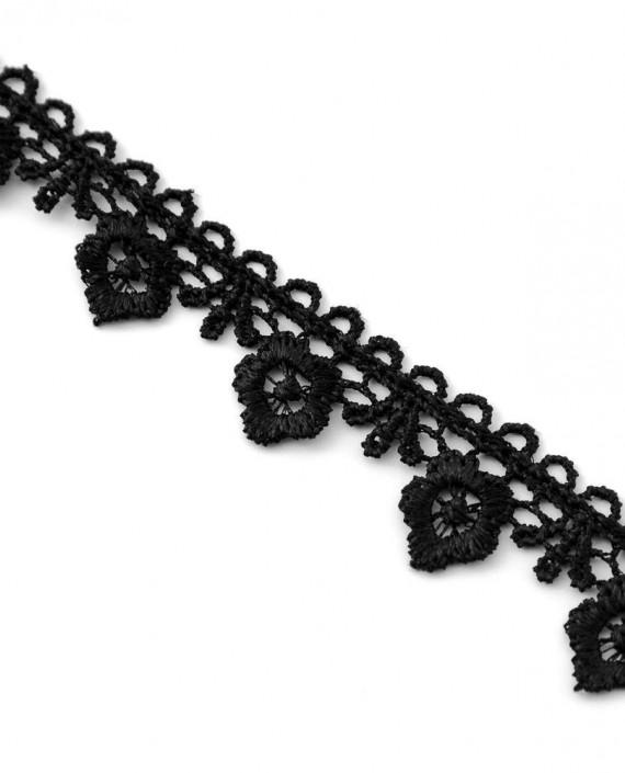 Тесьма 230 цвет черный цветочный картинка